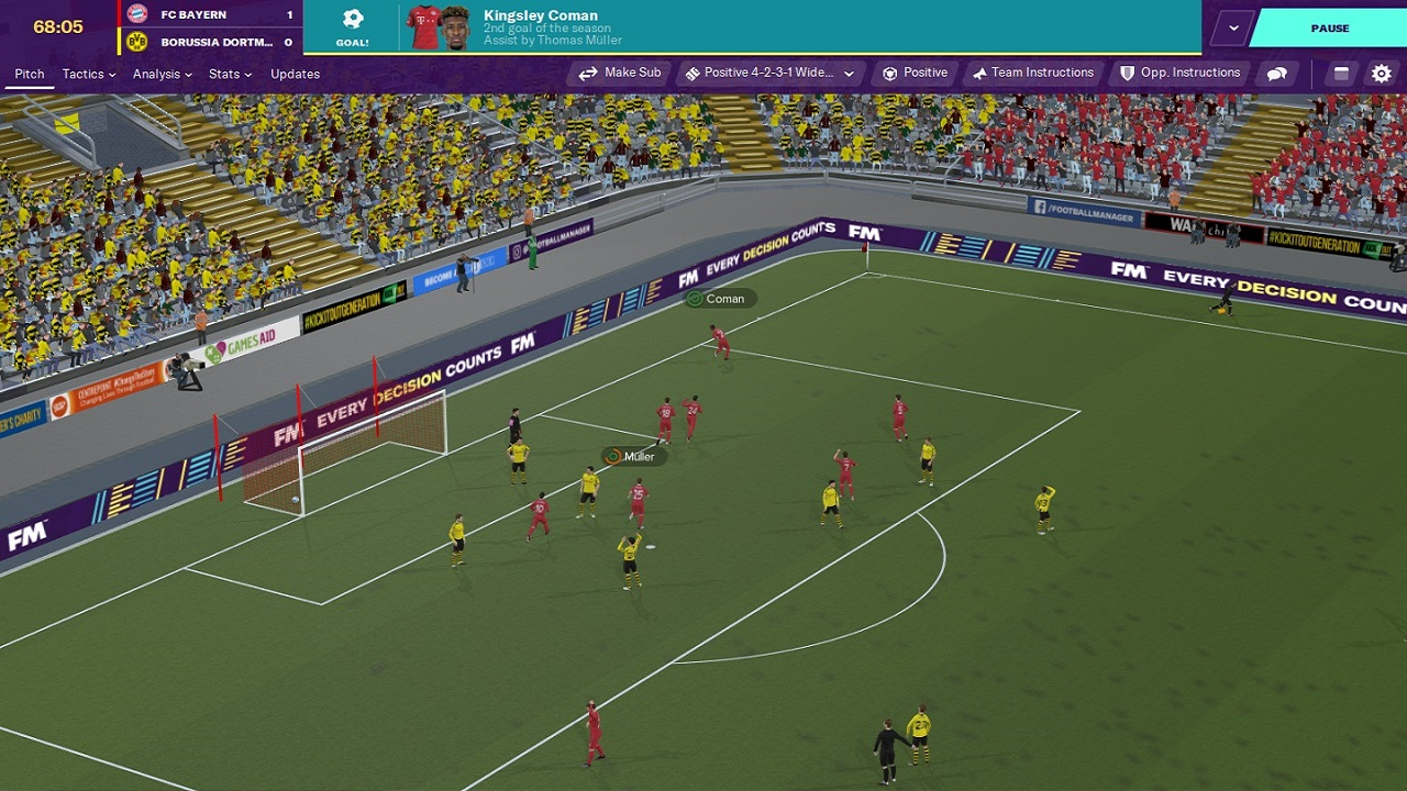 Screenshot della partita di Football Manager 2020 3D