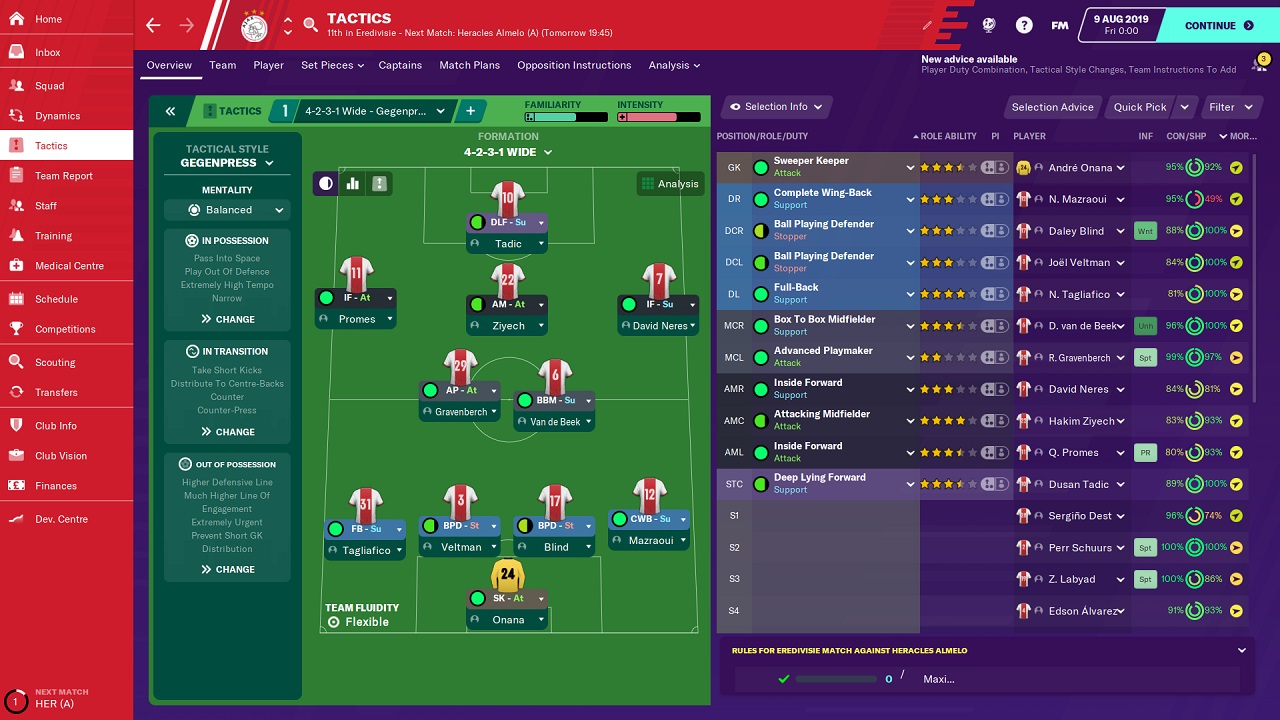 Schermata Tattiche di Football Manager 2020